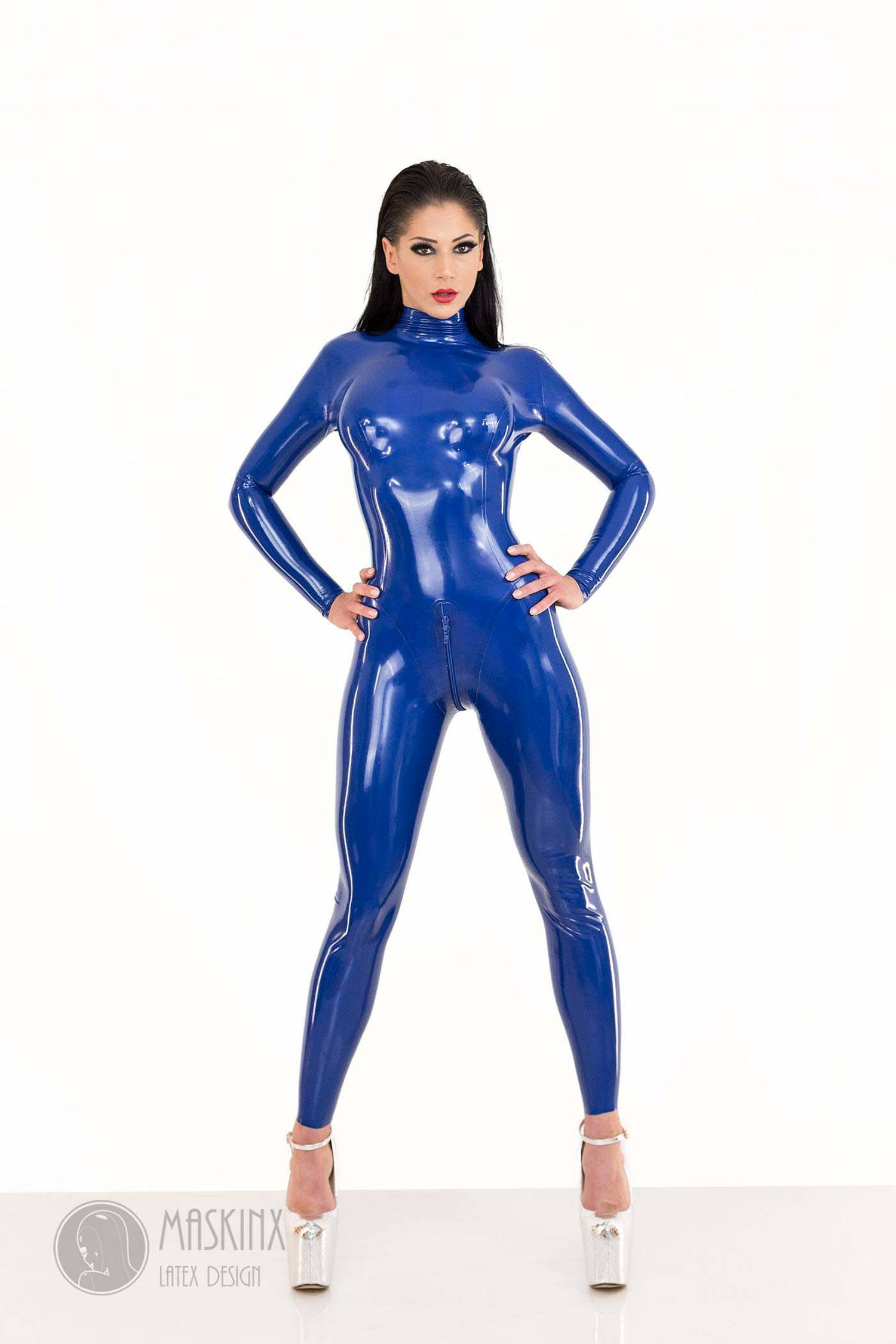 EASY-ON CLASSIC LATEX RUBBER CATSUIT ROYAL BLUE Chlorinated